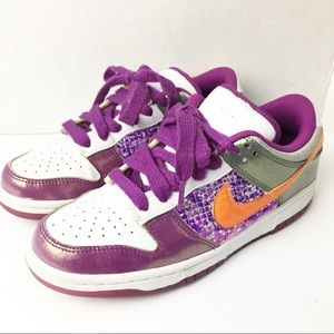 SZ 7 Womens Dunks Lows Metallic Purple